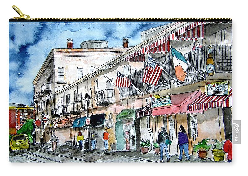Pen And Ink Carry-all Pouch featuring the painting Savannah Georgia River Street by Derek Mccrea