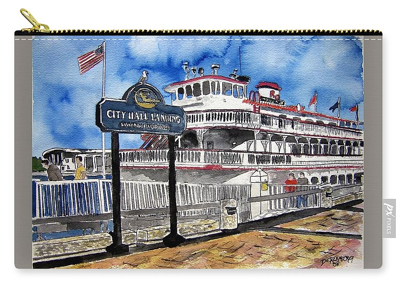 Savannah Carry-all Pouch featuring the painting Savannah River Queen Boat Georgia by Derek Mccrea