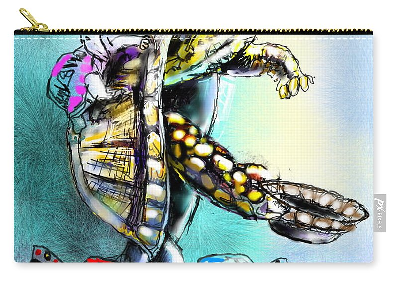 Turtle Painting Carry-all Pouch featuring the digital art Save My Family by Miki De Goodaboom