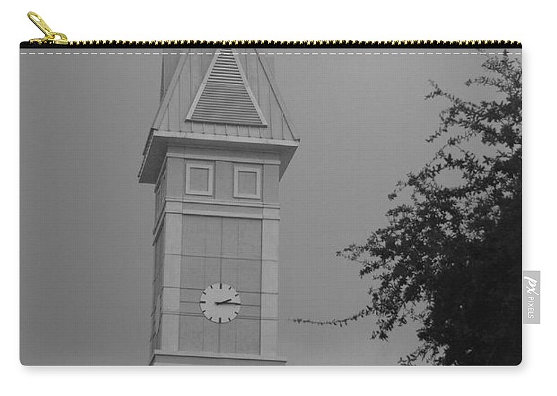 Black And White Carry-all Pouch featuring the photograph Save The Clock Tower by Rob Hans