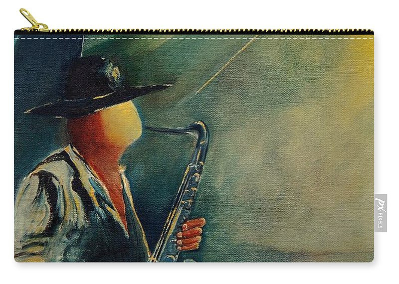 Music Carry-all Pouch featuring the painting Sax Player by Pol Ledent