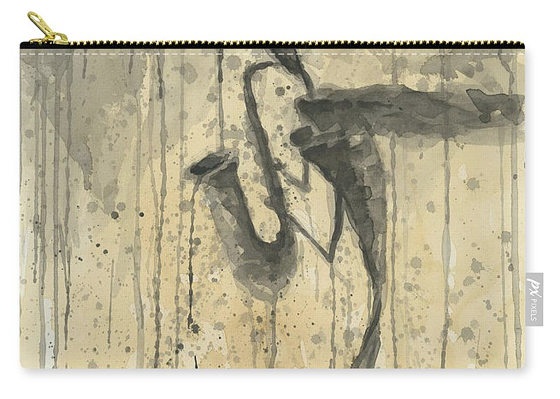 Watercolor Carry-all Pouch featuring the painting Saxophone A Series Of Works by Eugene Gorbachenko