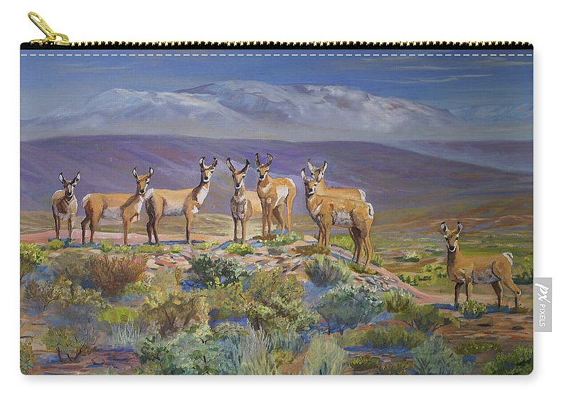 Antelope Carry-all Pouch featuring the painting Say Cheese Antelope by Heather Coen