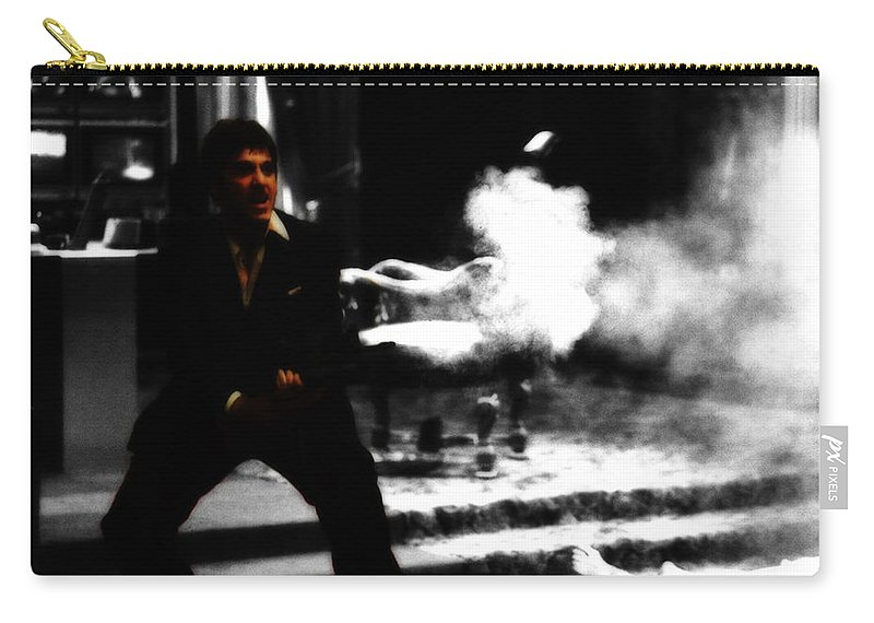 Scarface Carry-all Pouch featuring the digital art Say Hello To My M203 by Brian Reaves