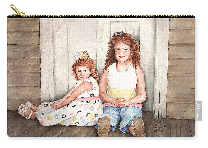 Children Carry-all Pouch featuring the painting Sayler And Tayzlee by Sam Sidders