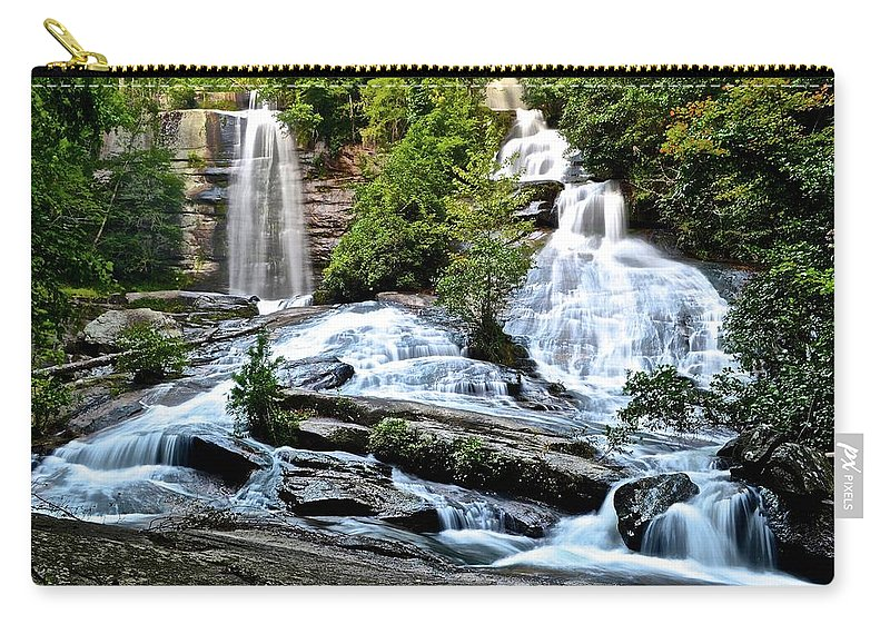 Twin Carry-all Pouch featuring the photograph Sc Twin Falls by Frozen in Time Fine Art Photography