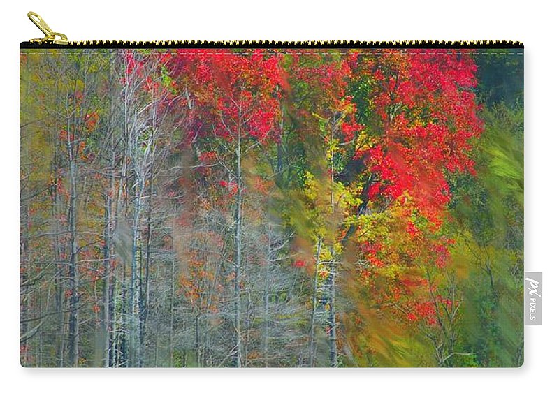 Landscape Carry-all Pouch featuring the digital art Scarlet Autumn Burst by David Lane