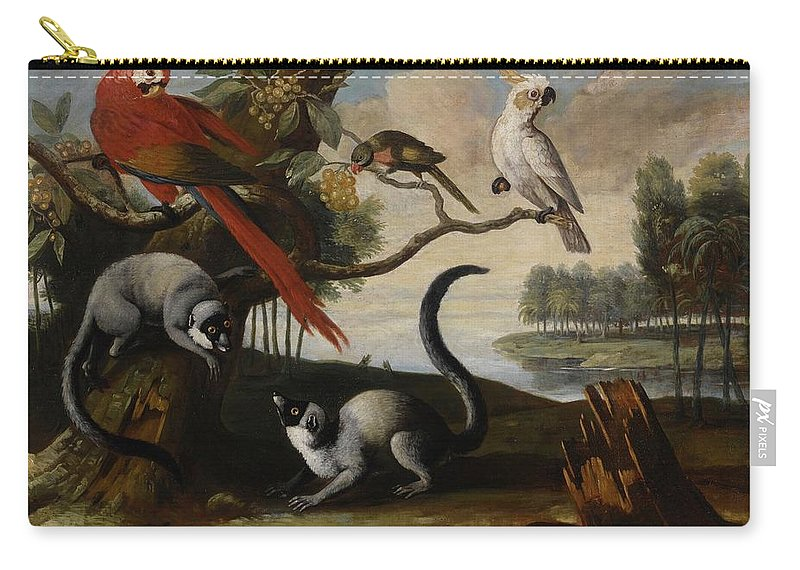 Circle Of Tobias Stranover Lemurs Carry-all Pouch featuring the painting Scarlet Macaw by MotionAge Designs