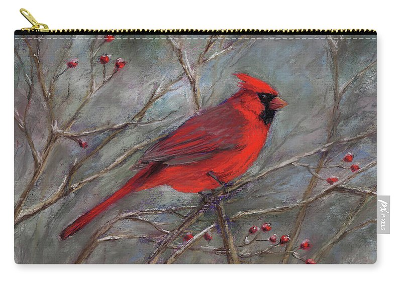 Cardinal Carry-all Pouch featuring the pastel Scarlet Sentinel by Vikki Bouffard