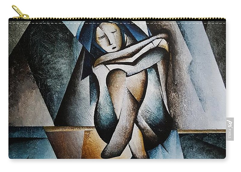 Woman Sad Carry-all Pouch featuring the painting Shattered by Brandon Allebach