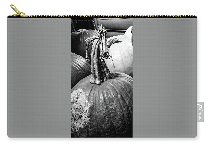 Pie Carry-all Pouch featuring the photograph Scary Stem Pumpkin by Marsha McAlexander