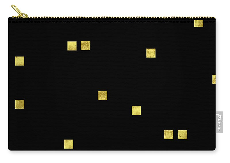 Elegant Carry-all Pouch featuring the digital art Scattered Gold Square Confetti Gold Glitter Confetti On Black by Tina Lavoie