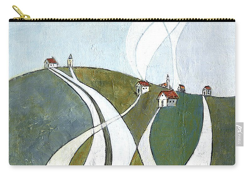 Painting Carry-all Pouch featuring the painting Scattered Houses by Aniko Hencz