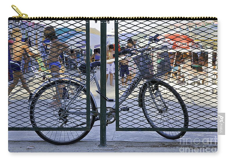 Bicycle Carry-all Pouch featuring the photograph Scene Through The Gate by Madeline Ellis