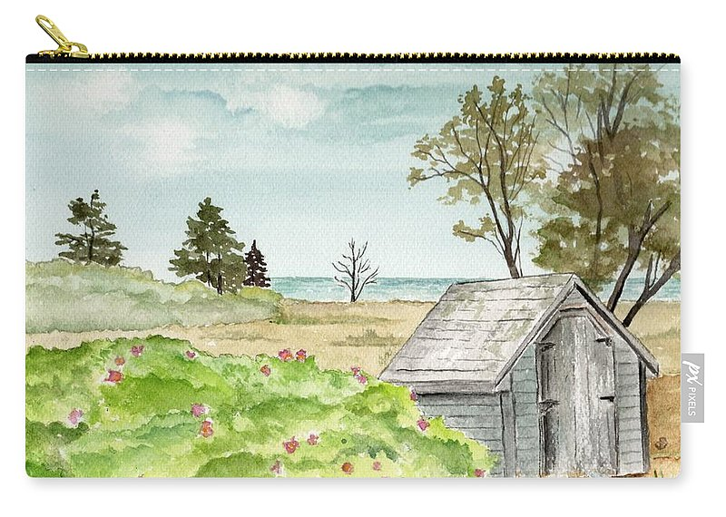 Landscape Watercolor Scenery Scenic Trees Roses Shed Building Art Painting Maine Carry-all Pouch featuring the painting Scenic Maine  by Brenda Owen