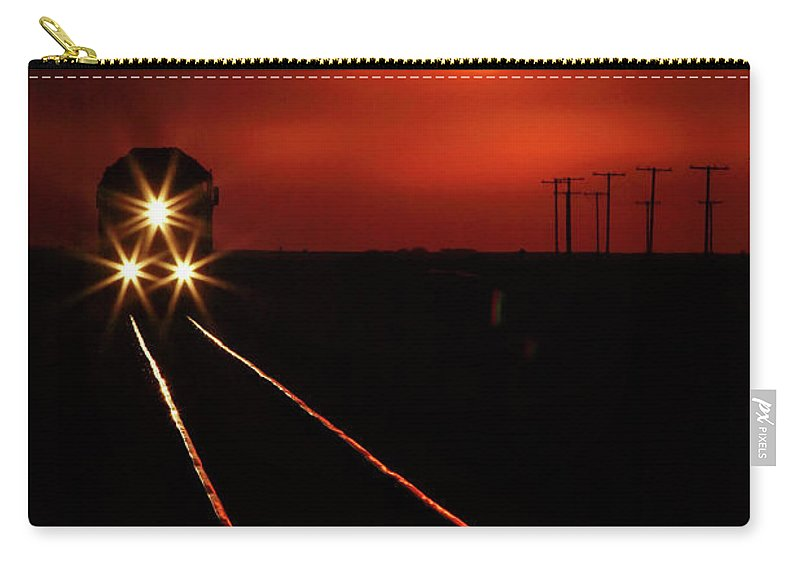 Sunset Carry-all Pouch featuring the digital art Scenic View Of An Approaching Trrain Near Sunset by Mark Duffy