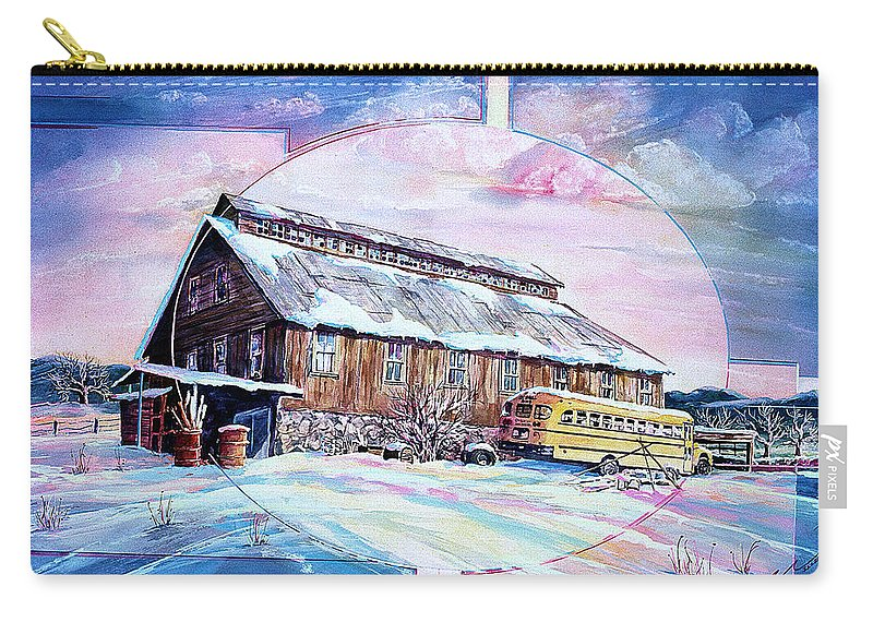 Bar Carry-all Pouch featuring the painting School Bus And Barn by Connie Williams