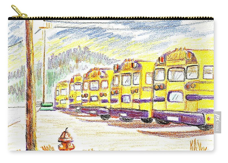 School Bussiness Carry-all Pouch featuring the mixed media School Bussiness by Kip DeVore