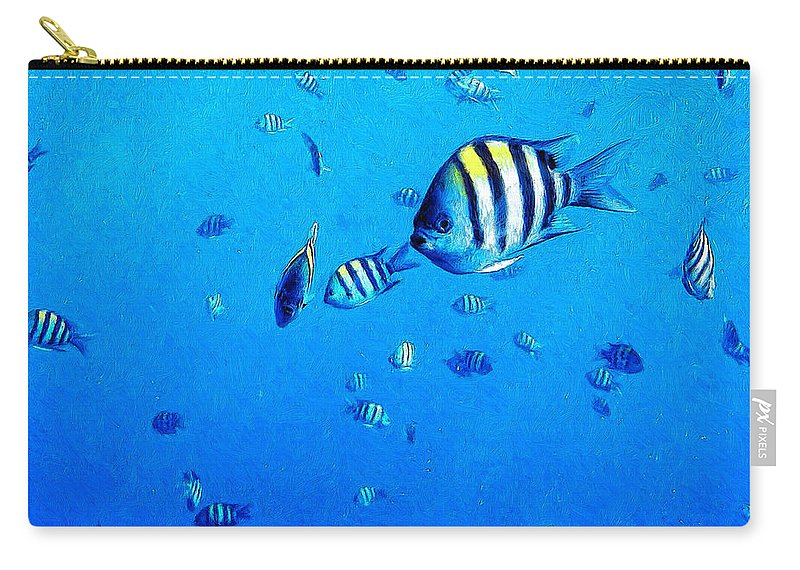 Fish Carry-all Pouch featuring the painting School by Dominic Piperata