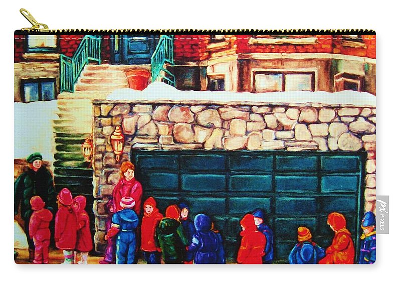 Montreal Streetscenes Carry-all Pouch featuring the painting Schools Out by Carole Spandau