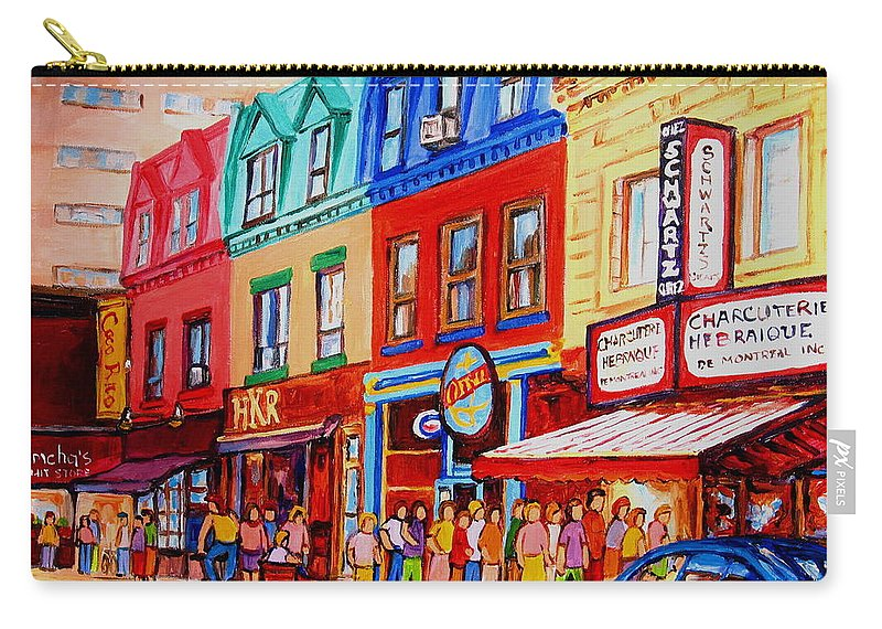 Cityscape Carry-all Pouch featuring the painting Schwartz Lineup With Simcha by Carole Spandau