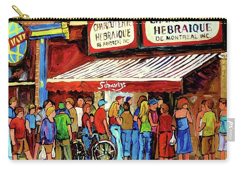 Schwartz Deli Carry-all Pouch featuring the painting Schwartzs Deli Lineup by Carole Spandau