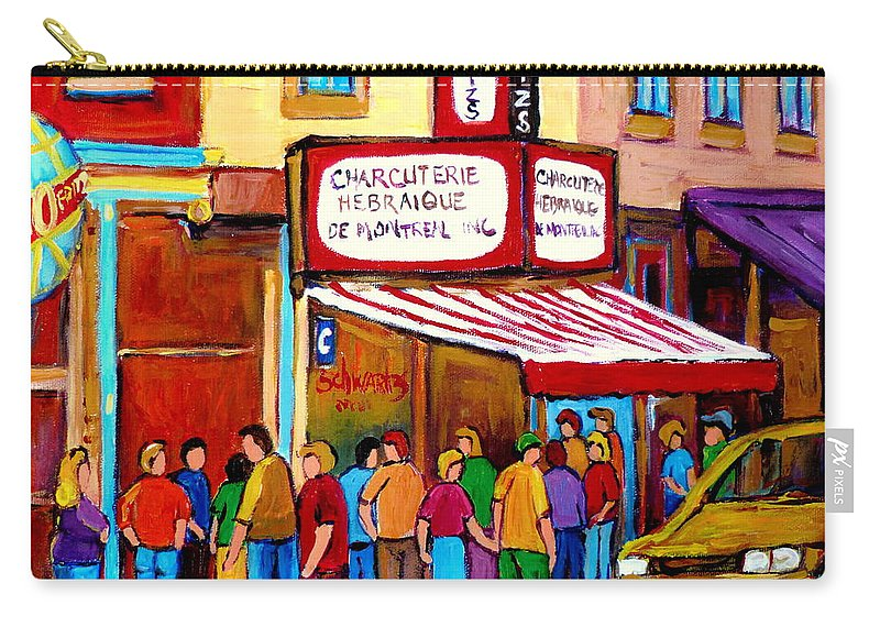 Schwartzs Deli Carry-all Pouch featuring the painting Schwartzs Hebrew Deli Montreal Streetscene by Carole Spandau