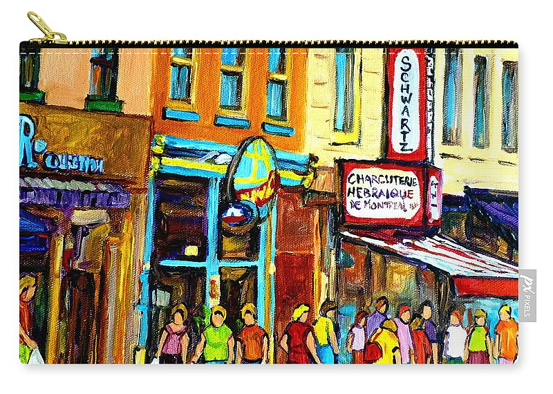 Schwartz's Hebrew Deli On St. Laurent In Montreal Carry-all Pouch featuring the painting Schwartz's Hebrew Deli On St. Laurent In Montreal by Carole Spandau