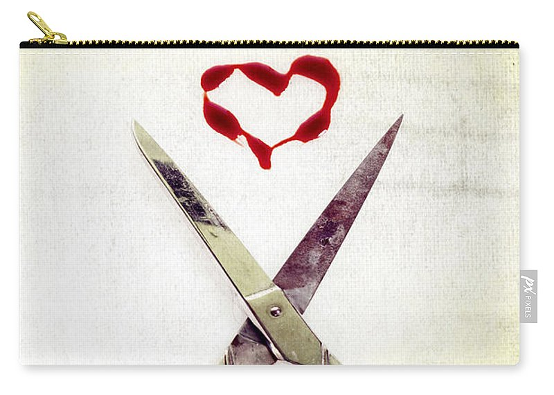Scissors Carry-all Pouch featuring the photograph Scissors And Heart by Joana Kruse