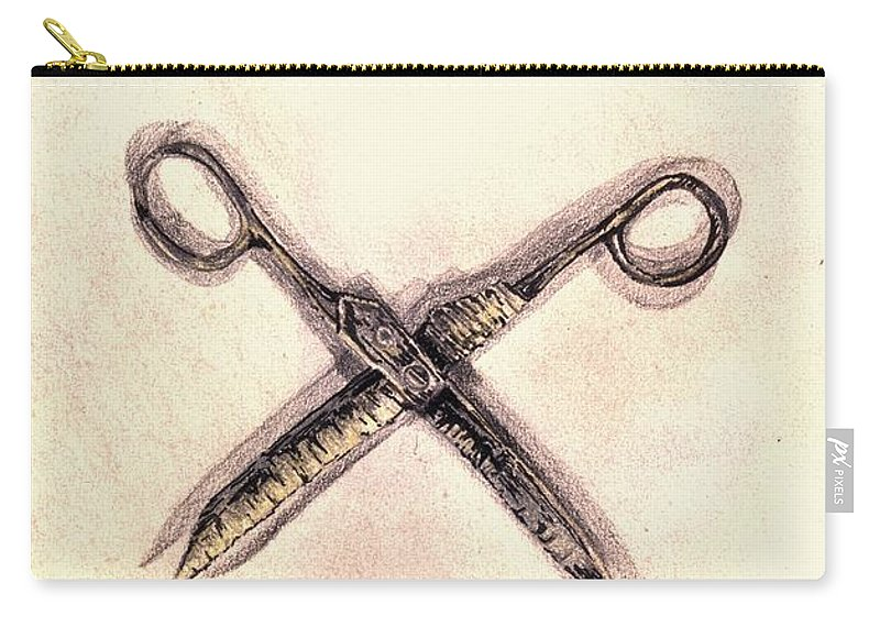 Scissors Carry-all Pouch featuring the drawing Scissors by Medea Ioseliani
