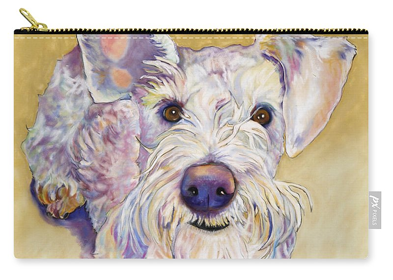 Schnauzer Carry-all Pouch featuring the pastel Scooter by Pat Saunders-White