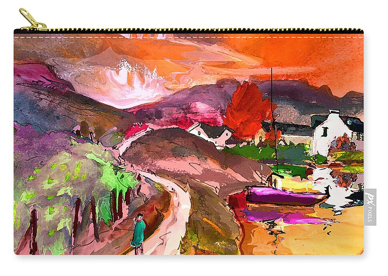 Scotland Paintings Carry-all Pouch featuring the painting Scotland 02 by Miki De Goodaboom