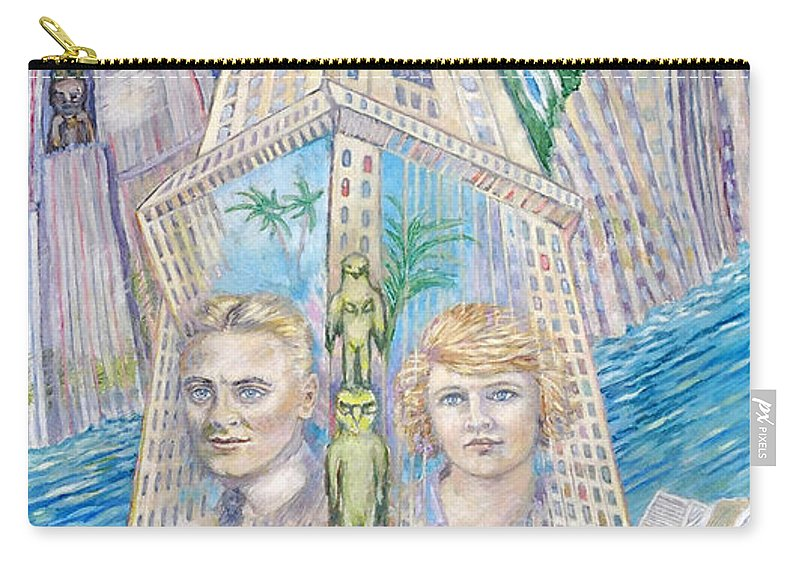 New York Fantasy Carry-all Pouch featuring the painting Scott And Zelda In Their New York Dream Tower by Patricia Buckley