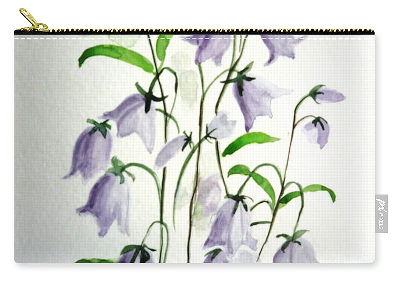 Blue Bells Hare Bells Purple Flower Flora Carry-all Pouch featuring the painting Scottish Blue Bells by Karin Dawn Kelshall- Best