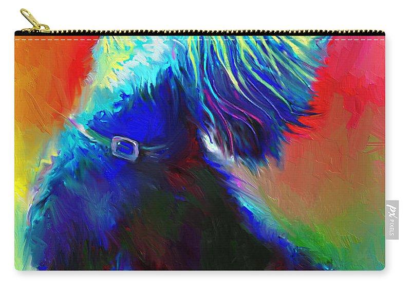 Scottish Terrier Painting Carry-all Pouch featuring the painting Scottish Terrier Dog Painting by Svetlana Novikova