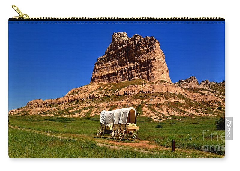 Scotts Bluff Carry-all Pouch featuring the photograph Scotts Bluff Wagon Train Panorama by Adam Jewell
