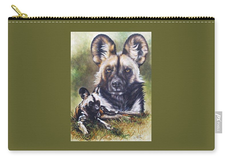 Wild Dogs Carry-all Pouch featuring the mixed media Scoundrel by Barbara Keith
