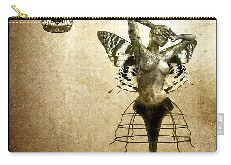 Digital Carry-all Pouch featuring the painting Scream Of A Butterfly by Jacky Gerritsen