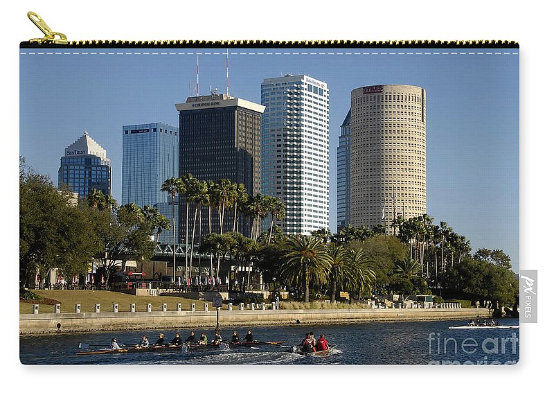 Sculling Carry-all Pouch featuring the photograph Sculling In Tampa Bay Florida by David Lee Thompson
