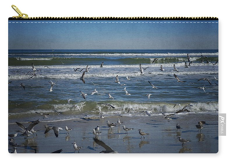 Sea Bird Carry-all Pouch featuring the photograph Sea Birds Feeding On Florida Coast Dsc00473_16 by Greg Kluempers