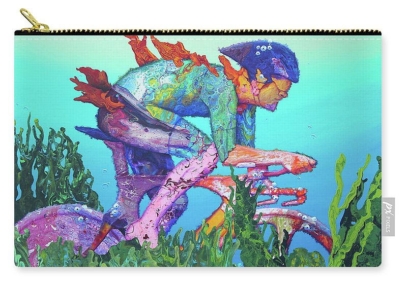 Underwater Carry-all Pouch featuring the painting Sea Cycler by Marguerite Chadwick-Juner