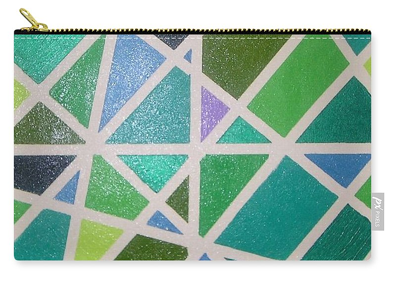 Green Carry-all Pouch featuring the painting Sea Glass Revisited by Maria Bonnier-Perez