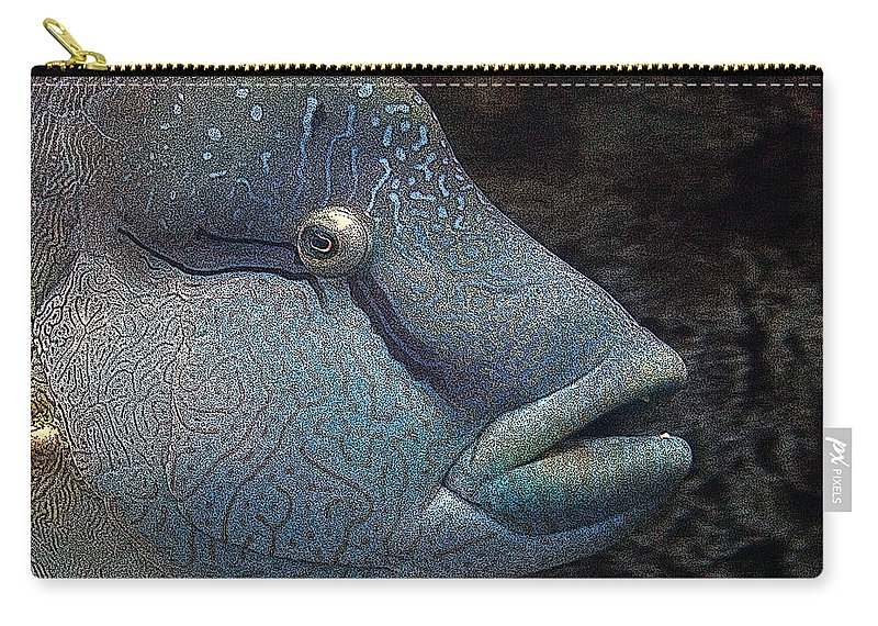 Fish Carry-all Pouch featuring the mixed media Sea Life 19 by Ernie Echols
