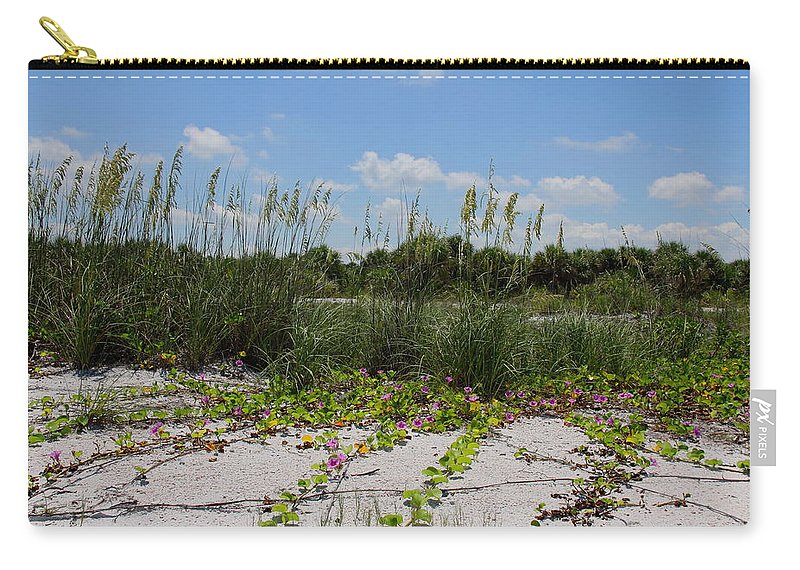 Beach Carry-all Pouch featuring the photograph Sea Oats And Blooming Cross Vine by Barbara Bowen