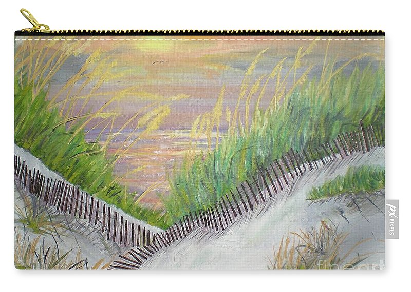 Seascape Carry-all Pouch featuring the painting Sea Oats by Hal Newhouser