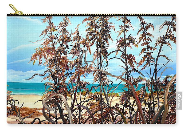 Ocean Painting Sea Oats Painting Beach Painting Seascape Painting Beach Painting Florida Painting Greeting Card Painting Carry-all Pouch featuring the painting Sea Oats by Karin Dawn Kelshall- Best
