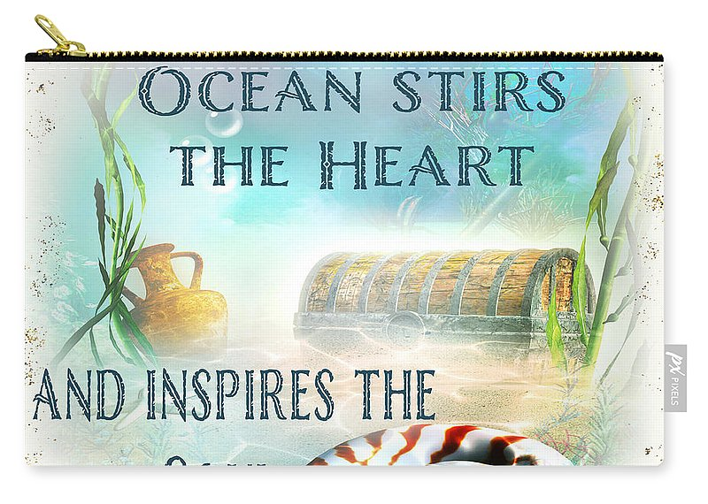 Nautical Carry-all Pouch featuring the painting Sea Side-jp2736 by Jean Plout