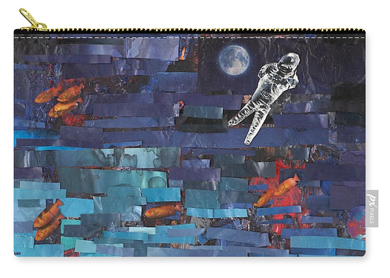 Astronaut Carry-all Pouch featuring the mixed media Sea Space by Jaime Becker