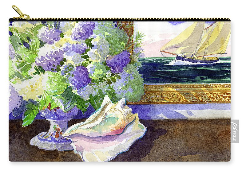 Hydrangeas Carry-all Pouch featuring the painting Sea Spirits by Lee Klingenberg