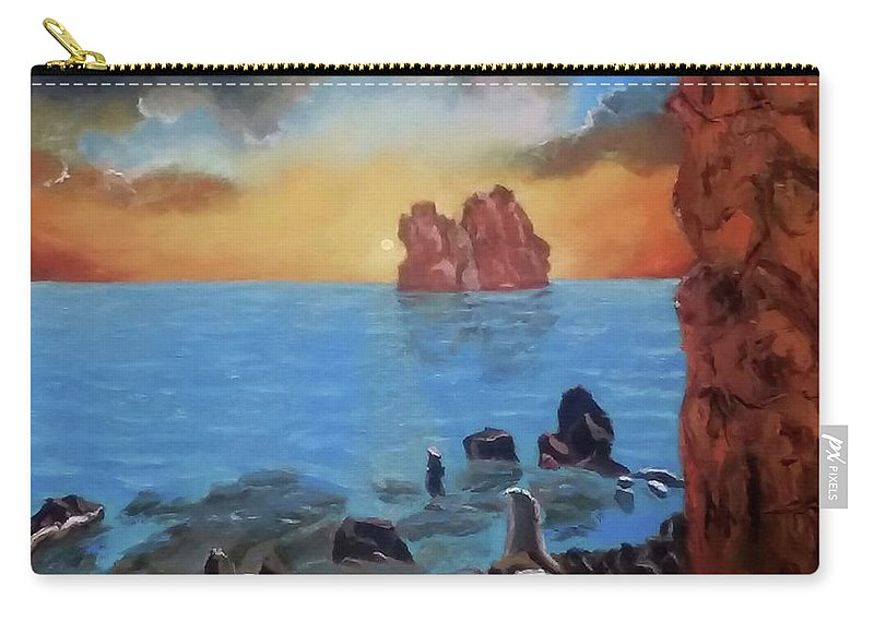 Sea Carry-all Pouch featuring the painting Sea Sunset by Stan Hamilton